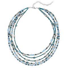 Napier Blue Bead Multi Strand Necklace