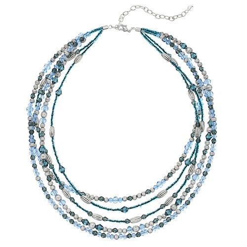 Napier Blue Bead Multi Strand Necklace