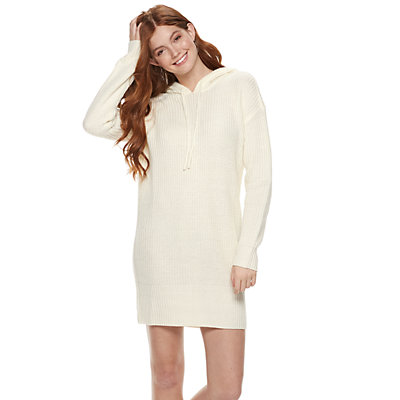 Juniors' Almost Famous Hooded Mini Sweater Dress