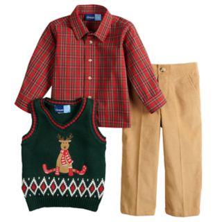 Toddler Boy Great Guy Reindeer Knit Sweater Vest, Plaid Shirt & Corduroy Pants Set
