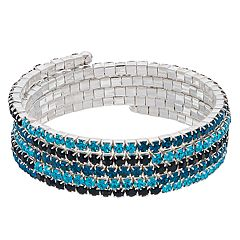 Napier Blue Simulated Stone Coil Bracelet