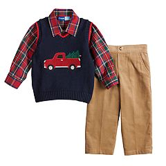 Toddler Boy Great Guy Truck Sweater Vest, Plaid Shirt & Pants Set
