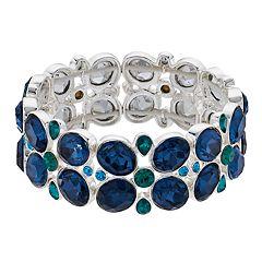 Napier Blue Simulated Crystal Stretch Bracelet