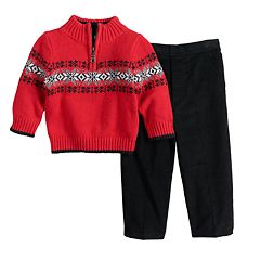 Toddler Boy Great Guy Snowflake Quarter Zip Sweater & Pants Set