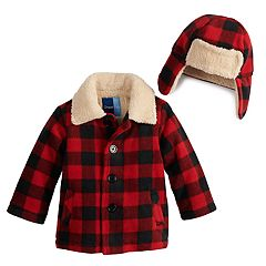 Toddler Boy Great Guy Buffalo Plaid Button Front Midweight Jacket & Trapper Hat Set