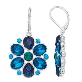 Napier Blue Simulated Crystal Cluster Drop Earrings