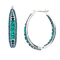 Napier Blue & Green Simulated Crystal Inside Out Hoop Earrings