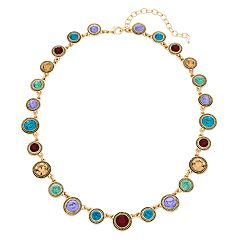 Napier Multi Colored Simulated Crystal Collar Necklace
