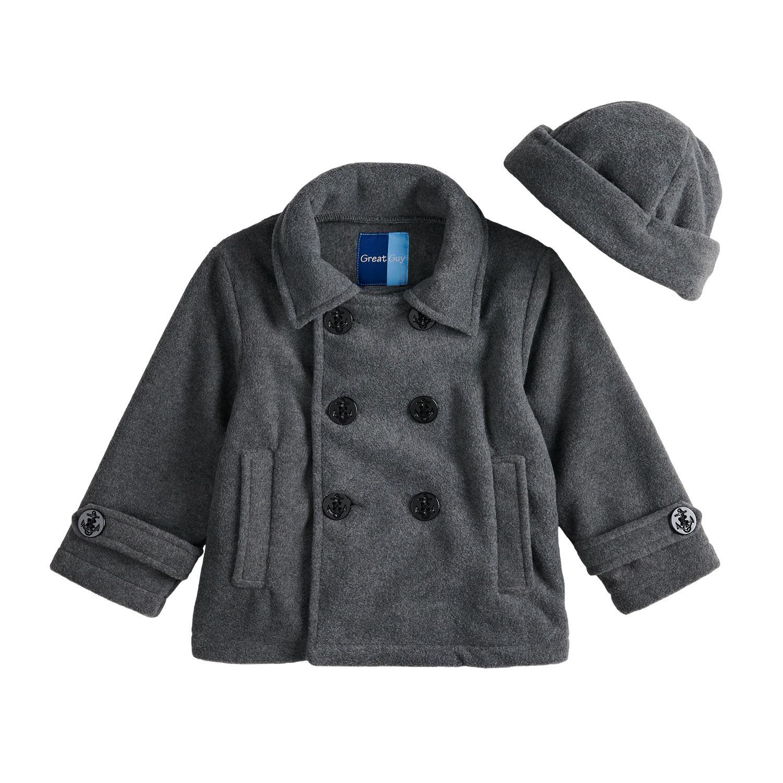 Toddler Boy Great Guy Fleece Midweight Peacoat \u0026 Hat Set Boys Kids Coats Jackets - Outerwear, Clothing | Kohl\u0027s