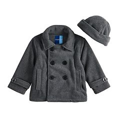 Toddler Boy Great Guy Fleece Midweight Peacoat & Hat Set
