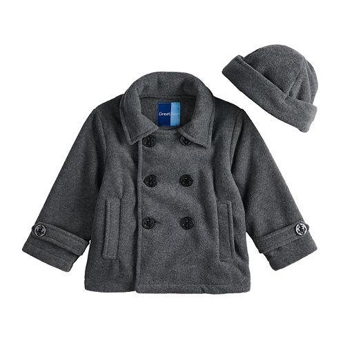 Toddler Boy Great Guy Fleece Midweight Peacoat & Hat Set