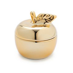 LC Lauren Conrad Gold Tone Apple Ceramic Trinket Box
