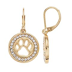 Pet Friends Simulated Crystal Paw Print Drop Earrings