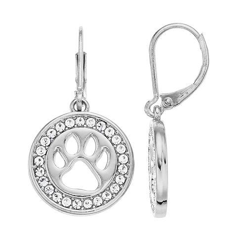 Pet Friends Simulated Crystal Paw Print Drop Earrings