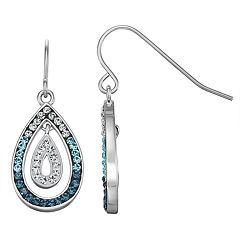 Chrystina Silver Plated Crystal Ombre Double Teardrop Earring