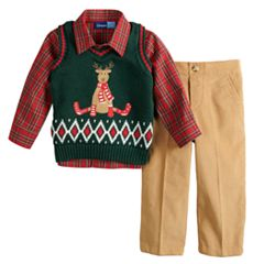 Baby Boy Great Guy Reindeer Knit Sweater Vest, Plaid Shirt & Corduroy Pants Set