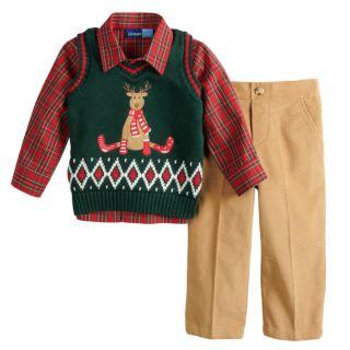 Baby Boy Great Guy Reindeer Knit Sweater Vest, Plaid Shirt & Corduroy Pants Set