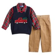 Baby Boy Great Guy Truck Sweater Vest, Plaid Shirt & Pants Set