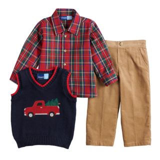 Baby Boy Great Guy Truck Sweater Vest, Plaid Shirt & Pants Set