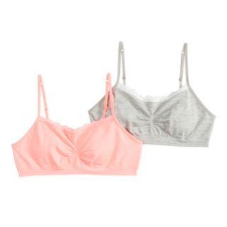 Girls 7-16 SO® 2-pack Seamless Lace Crop Bras