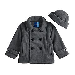 Baby Boy Great Guy Fleece Midweight Peacoat & Hat Set