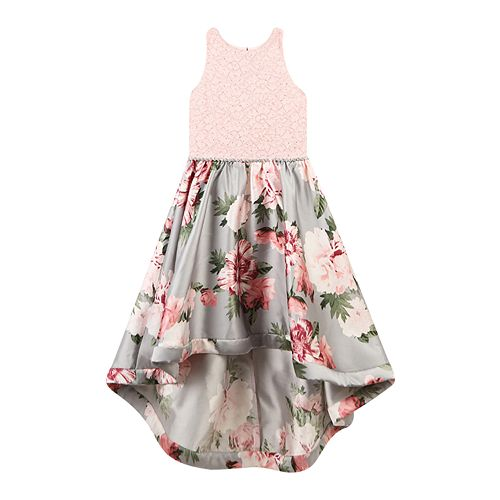 80a52fbf3d2e4 Girls Speechless Lace to Floral High-Low Dress