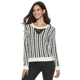 Women's Rock & Republic® Striped Lace-Up Sweater
