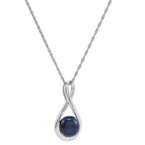 Freshwater by HONORA Sterling Silver Dyed Black Freshwater Cultured Pearl Infinity Pendant