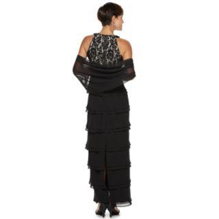 Petite Jessica Howard Layered Chiffon High Neck Dress