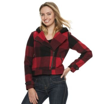 Women's Rock & Republic® Plaid Wool Blend Hooded Moto Jacket