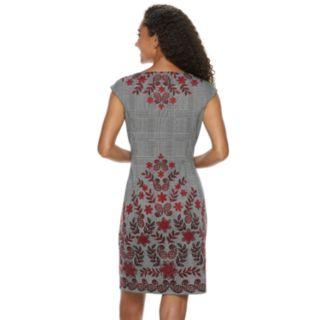Petite Suite 7 Vine Flower Cap Sleeve Ponte Sheath Dress