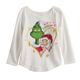 """Toddler Girl Jumping Beans® Dr. Seuss The Grinch & Cindy Lou Who """"Merry Grinchmas"""" Graphic Tee"""