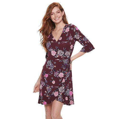 Juniors' Candie's® Bell Sleeve Wrap Dress
