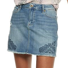 Juniors' American Rag Floral Denim Mini Skirt
