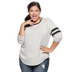 Juniors' Plus Size SO® Varsity Striped Tee