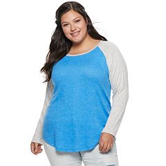 Juniors' Plus Size SO® Colorblock Baseball Tee