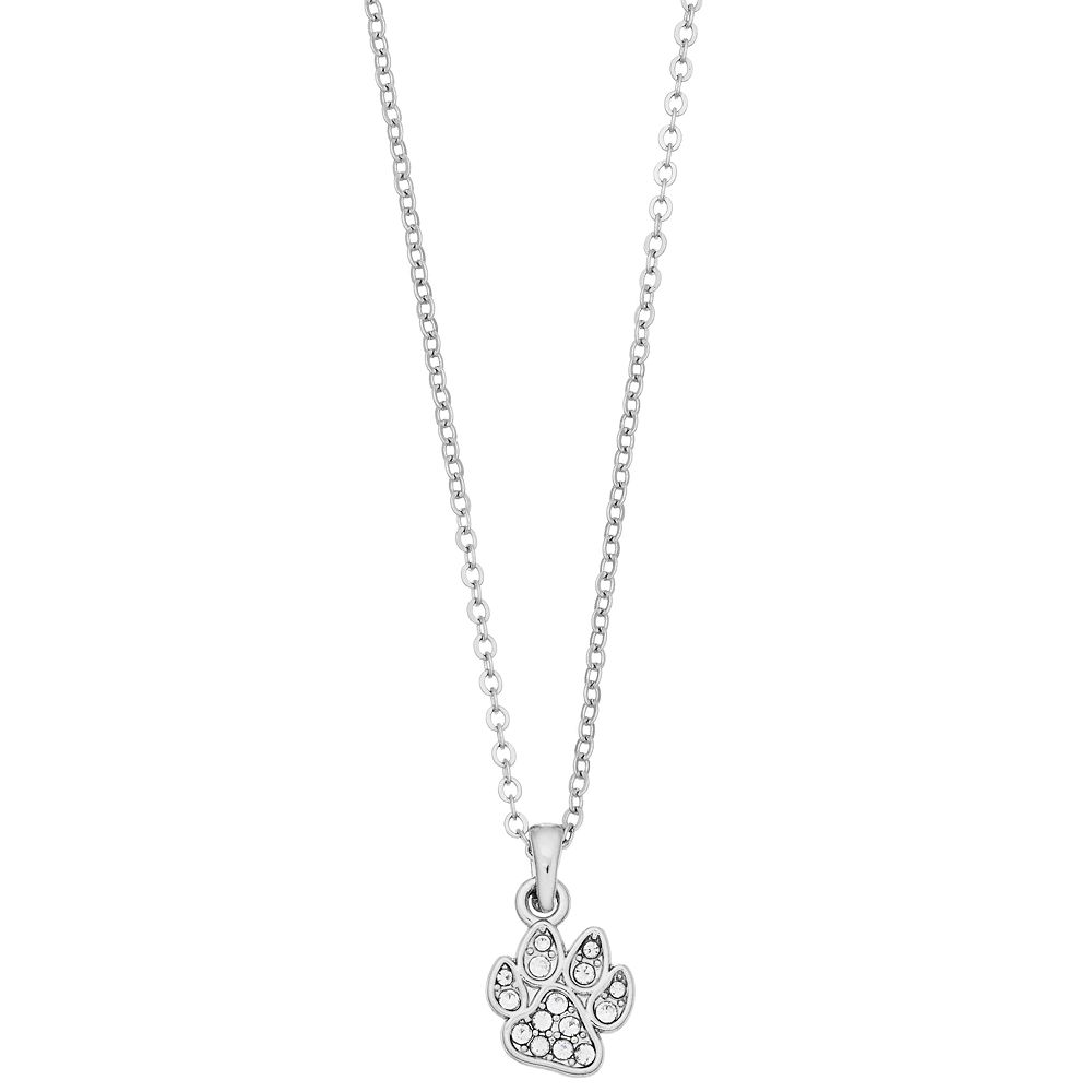 Pet Friends Simulated Crystal Paw Pendant Necklace