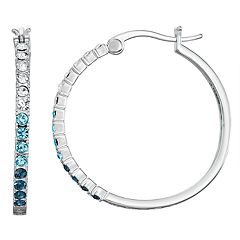 Chrystina Silver Plated Crystal Ombre Hoop Earrings