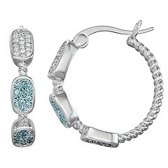 Chrystina Silver Plated Crystal Hoop Earrings