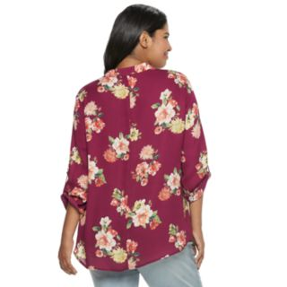 Juniors' Plus Size Liberty Love Floral Lattice Popover Top
