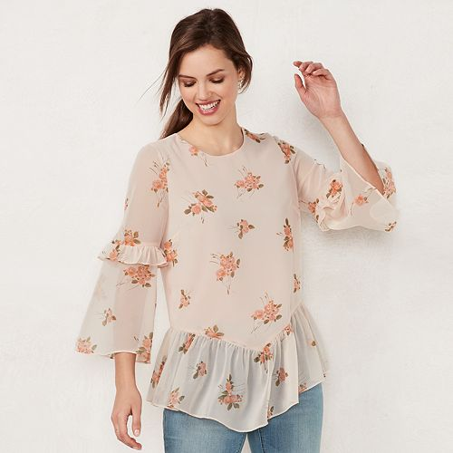 Women's LC Lauren Conrad Floral Ruffle Tiered Top