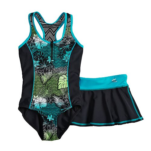 Girls 7-16 & Plus Size Tropical Wave One-Piece Swimsuit & Skirt Set
