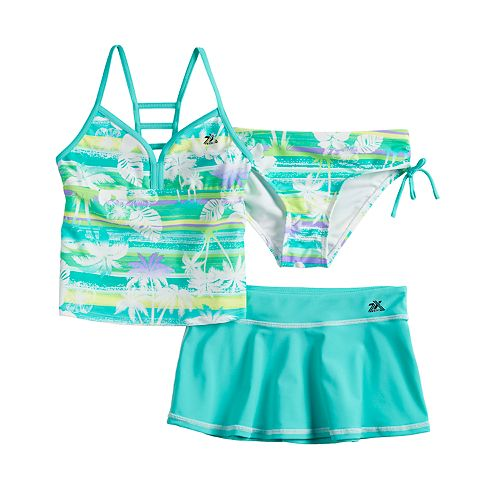 Girls 7-16 ZeroXposur Magic Mirage Tankini Top & Bottoms & Skirt Swimsuit Set