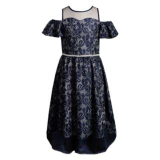 Girls 7-16 Emily West Illusion Neckline Cold-Shoulder Lace Dress