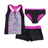 Girls 7-16 & Plus Size Secret Code Tankini Top, Bottoms & Shorts Swimsuit Set