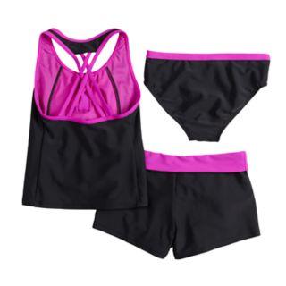 Girls 7-16 & Plus Size Secret Code Tankini Top, Bottoms & Shorts Swimsuit Set