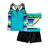 Girls 7-16 & Plus Size Sunrise Tankini Top, Bottoms & Shorts Swimsuit Set