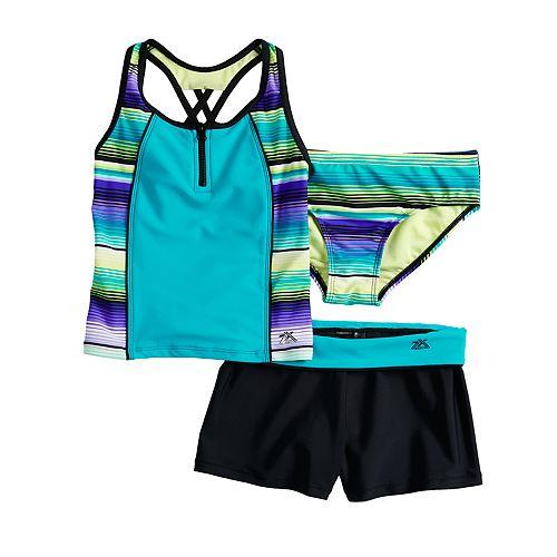 Girls 7-16 & Plus Size Sunrise Tankini Top, Bottoms & Shorts Swimsuit Set