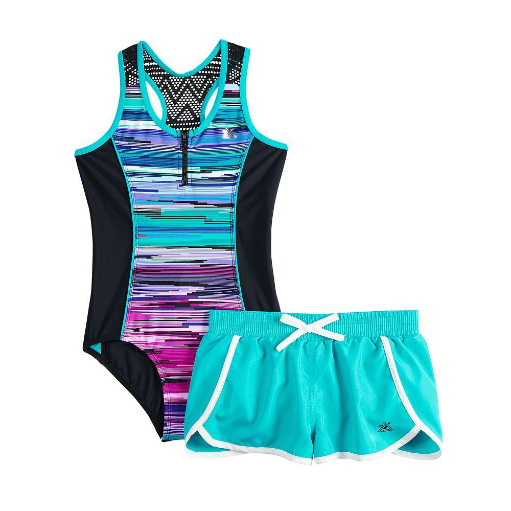 Girls 7-16 & Plus Size ZeroXposur Scenic Route One-Piece Swimsuit & Shorts Set