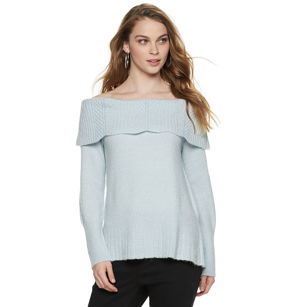 Women's ELLE™ Lurex Off-the-Shoulder Sweater
